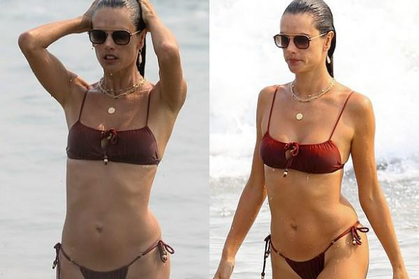 alessandra ambrosio spotted at the beach in malibu