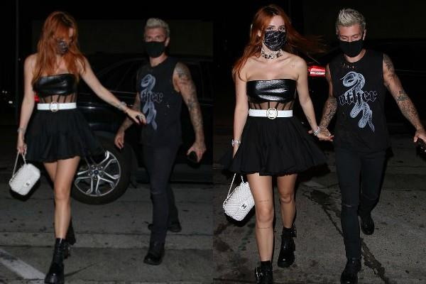 bella thorne spotted for dinner with boyfriend benjamin