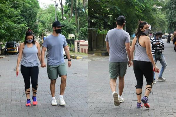 neha dhupia spotted at bandra streets with husband