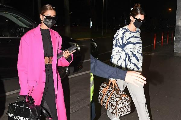 kendall jenner and hailey bieber looks stylish as they spotted milan airport