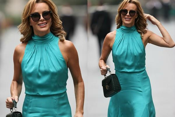 amanda holden looks stunning as she spotted outside the radio studio