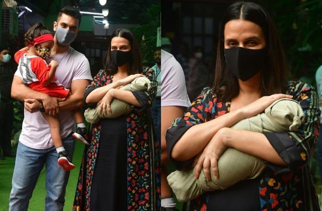 neha dhupia returned home with new born baby boy from hospital