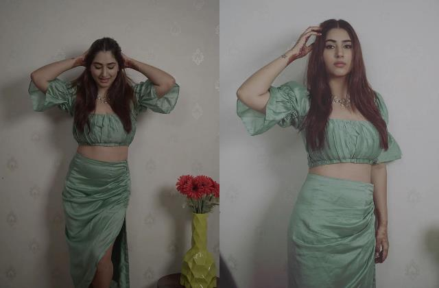 disha parmar looks stylish in crop top and side cut skirt