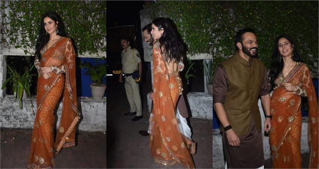 katrina kaif looks beautiful backless saree blouse during sooryavanshi promotion