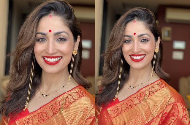 yami gautam flaunt her bvlgari mangalsutra with all red first karwachauth look