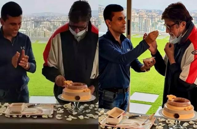 amitabh bachchan cuts his birthday cake with friend anand pandit
