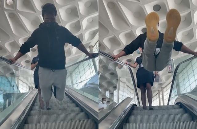 sonu sood did dangerous stunt on escalator