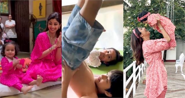 shilpa shetty daughter samisha cute videos viral on internet
