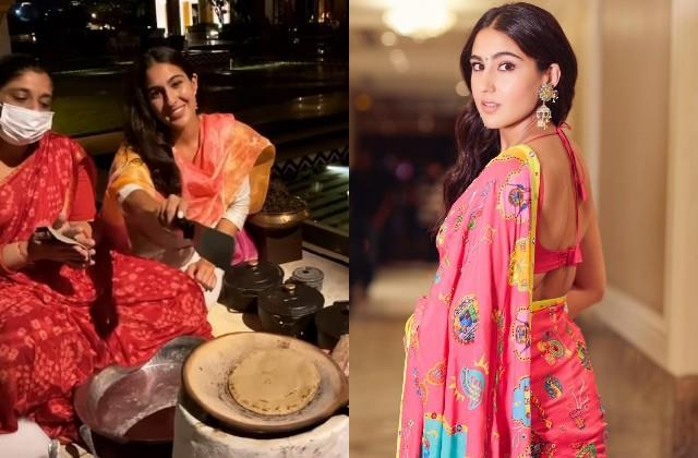 sara ali khan made chapatis on the stove in rajasthan