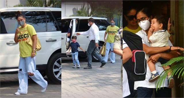 kareena saif with son taimur and jehangir spotted mumbai airport