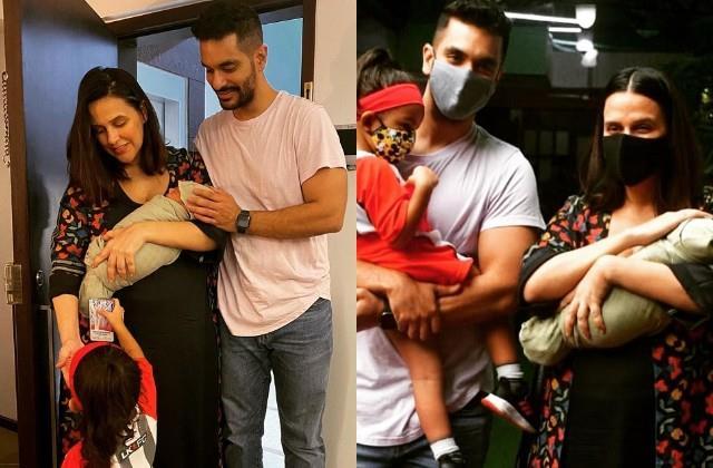 neha dhupia reveals newborn son face photos viral