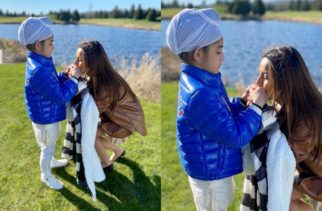 shehnaaz gill kisses her co star and gippy grewal son hand in viral pictures