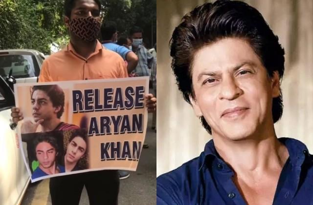 shah rukh fan gathered outside the court in support of aryan khan