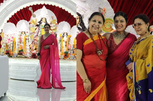 kajol looks beautiful in pink saree as she arrived durga puja celebration