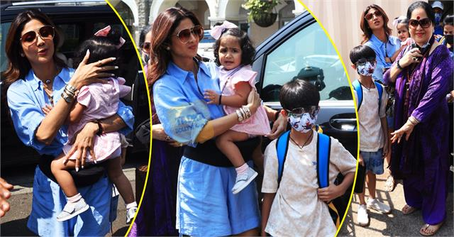 shilpa shetty spotted with kids samisha viaan and mother at gateway of india