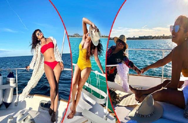 priyanka chopra enjoying on yacht with mother madhu chopra