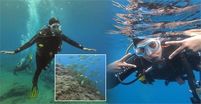 तस्वीरें: मछलियों की दुनिया में पहुंची 'देसी गर्ल', शूटिंग से ब्रेक लेकर स्पेन में देवर संग लिए स्कूबा डाइविंग के मजे