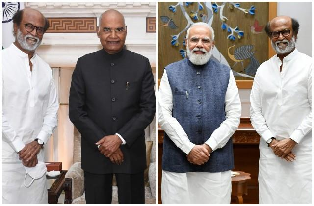 rajinikanth met president and pm modi after receiving  dada saheb phalke award