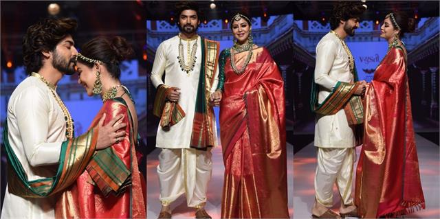 gurmeet choudhary debina bonnerjee walk the ramp in traditional look