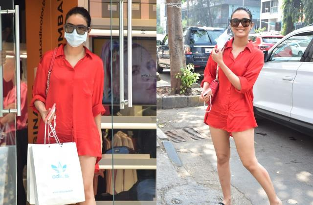 jasmin bhasin looks cute in oversized shirt as she spotted for shopping