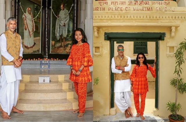 milind soman and ankita konwar arrived mahatma gandhi birthplace to pay tribute