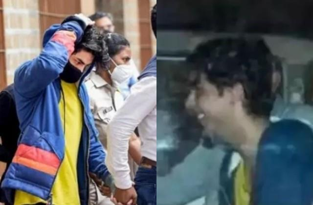 aryan khan laughing while left for court hearing sitting with ncb officers