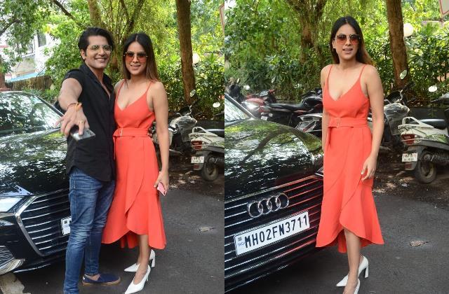 nia sharma looks stunning as she spotted with karanvir bohra
