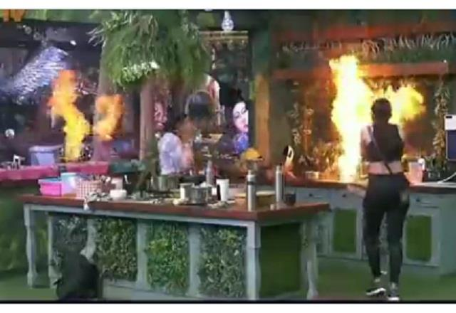 fire in bigg boss 15 house with the mistake of vidhi pandya and tejashwi