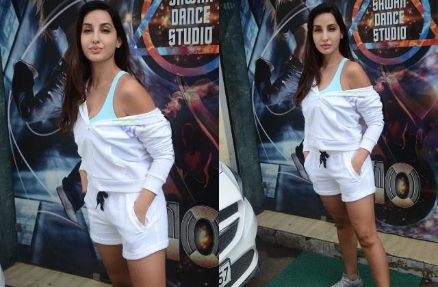 nora fatehi spotted outside dance class in mumbai