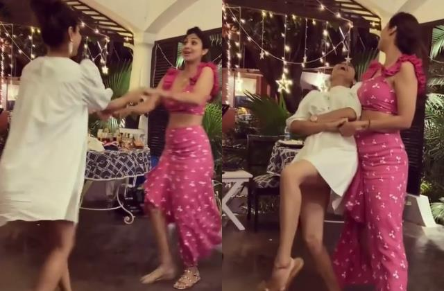 shilpa shetty dancing with shamita shetty on badan pe sitare song