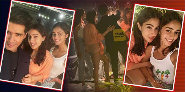 sara ali khan ananya panday share cute bond at karan johar party