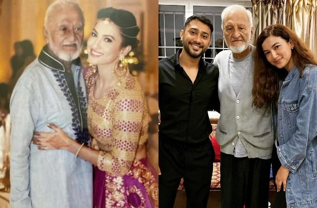 gauahar khan share photo with father on his birthday