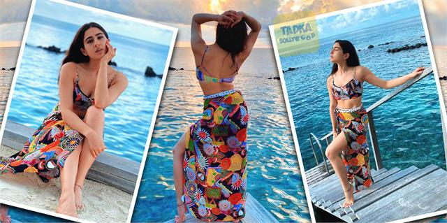 sara ali khan stuns in multi colored bralette in pictures of maldives vacation