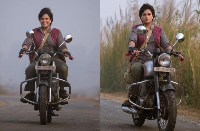 richa chadha learns ride bike for movie madam chief minister