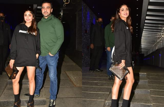 shilpa shetty looks bold as she spotted at dinner date with hubby raj kundra