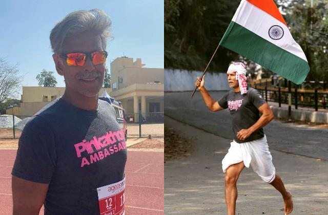 milind soman ran with flag on republic day