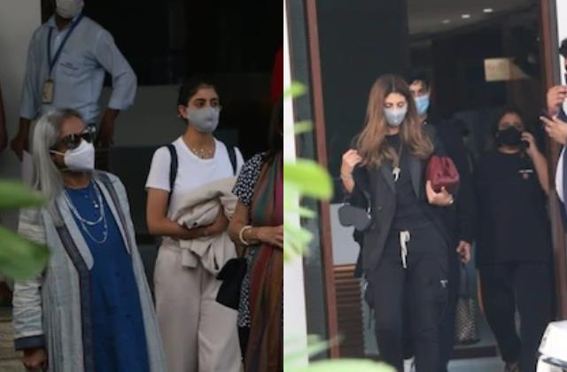 jaya bachchan spotted at airport with shweta navya and agastya