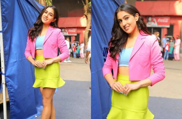 sara ali khan looks glamorous as she spotted filmcity