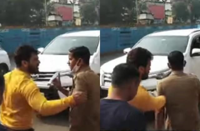 bus hit khesari lal yadav car actor rages out the driver
