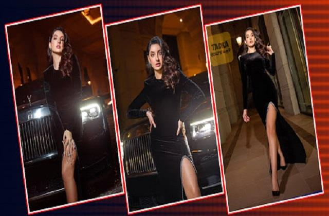nora fatehi shares photos in black slit dress