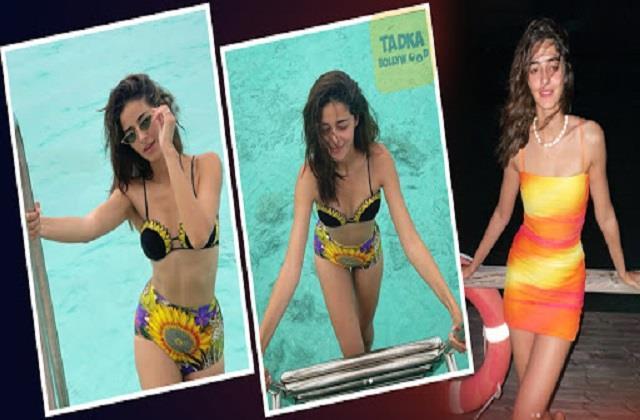 anany panday shares sunflower bikini photos from maldives on new year