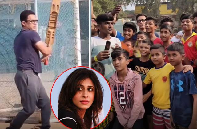 aamir khan playing cricket with kids kishwer slams or not wearing a mask