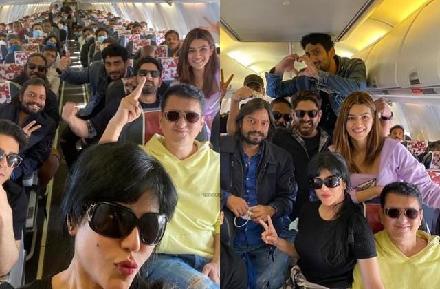 kriti sanon arrives in jaisalmer with team for shooting bachchan pandey