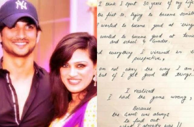 shweta singh kirti share sushant singh rajput handwritten letter