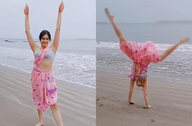 adah sharma cartwheel stunt in saree video viral