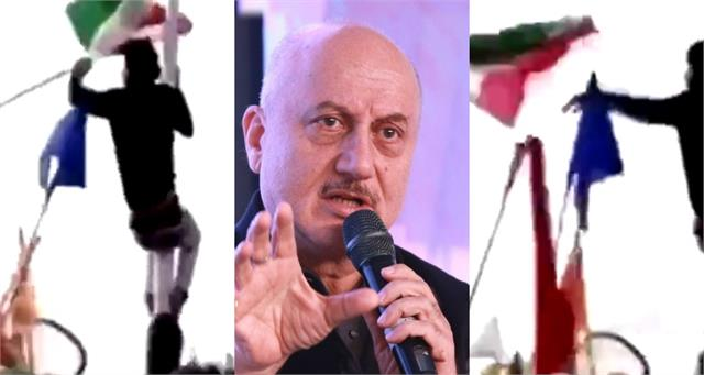 anupam kher angry on protesters who threw national flag