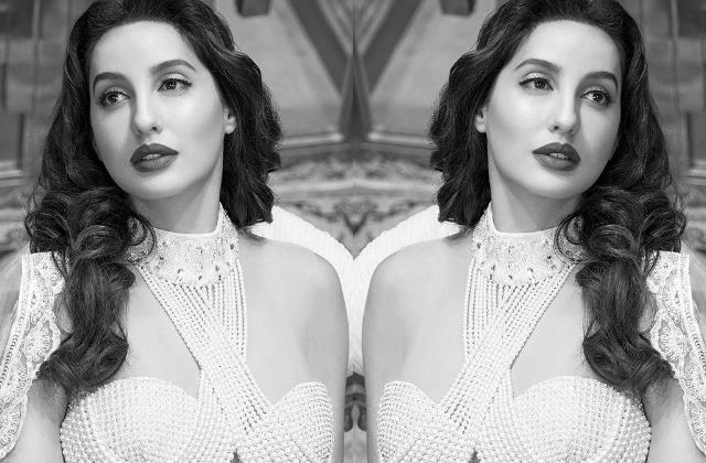nora fatehi share pictures in pearl made blouse