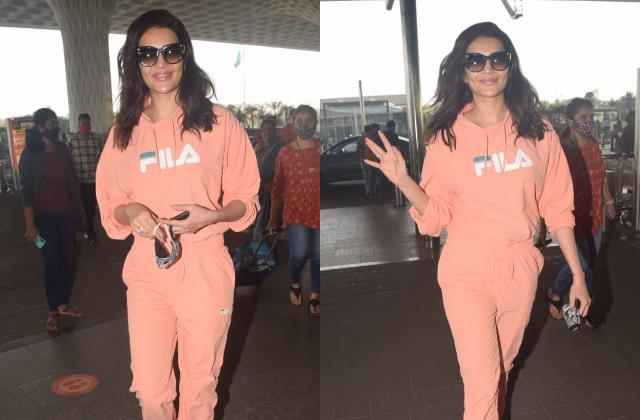 karishma tanna looks cool as she spotted at airport
