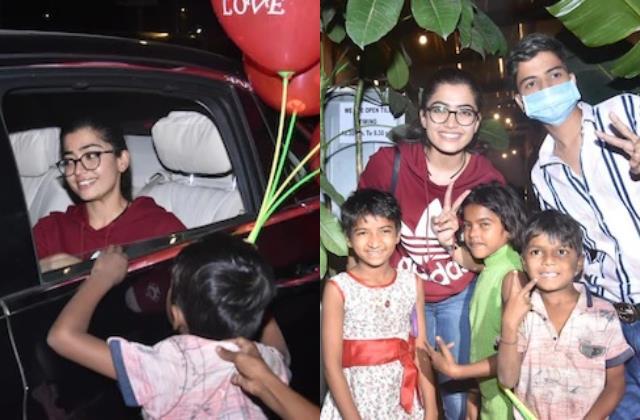 national crush rashmika mandanna surrounded by children in juhu
