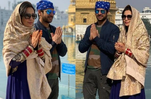 karanveer mehra with wife nidhi seth reached golden temple after marriage